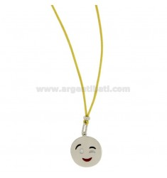 NECKLACE WITH YELLOW SILK EMOTICONS Wink 17 MM SILVER RHODIUM TIT 925 ‰ AND GLAZE
