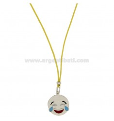 NECKLACE WITH YELLOW SILK EMOTICONS LAUGHTER 17 MM SILVER RHODIUM TIT 925 ‰ AND GLAZE