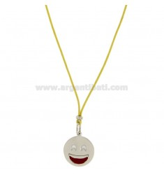 NECKLACE WITH YELLOW SILK EMOTICONS SMILE 17 MM SILVER RHODIUM TIT 925 ‰ AND GLAZE