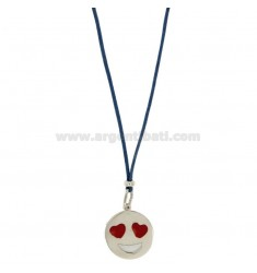 NECKLACE WITH BLUE SILK EMOTICONS LOVE 17 MM SILVER RHODIUM TIT 925 ‰ AND GLAZE
