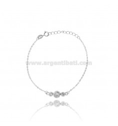 BRACELET WITH CABLE TRILOGY CENTRAL SILVER RHODIUM TIT 925 ‰ AND ZIRCONIA CM 16.19