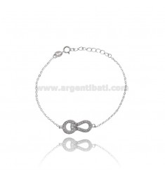BRACELET WITH CABLE HOOK CENTRAL SILVER RHODIUM TIT 925 ‰ AND ZIRCONIA CM 16.19
