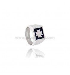 SQUARE RING WITH CROSS OF MALTA OR AMALFI MM 12X15 WITH POLISH SILVER RHODIUM TIT 925 ‰ ADJUSTABLE MEASURE 18