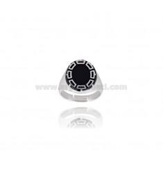 OVAL RING 16x14 MM mit polnischem Silber rhodiniert TIT 925 ‰ Einstellbarer MESSEN 17