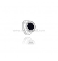 RING ROUND 15 MM WITH POLISH AND ZIRCONIA SILVER RHODIUM TIT 925 ‰ ADJUSTABLE MEASURE 14