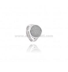 RING RUNDE 13 MM mit Zirkonia Silber rhodiniert TIT 925 ‰ Einstellbarer MESSEN 14