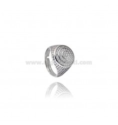 14 MM ROUND RING WITH ZIRCONIA AND ENAMEL SILVER RHODIUM TIT 925 ‰ ADJUSTABLE SIZE FROM 16