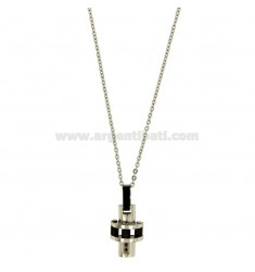 CROSS PENDANT MM 18x12 STEEL TWO TONE PLATED RUTHENIUM CHAIN CABLE 50 CM