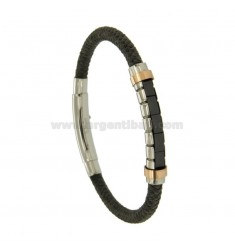 BRACELET FABRIC GREY TUBULAR STEEL PLATE WITH TWO.TONE GOLD PLATED ROSE AND BLACK CERAMIC