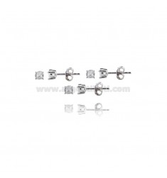 KIT 3 PAIRS OF LIGHT POINT EARRINGS WITH WHITE ZIRCON MM 4 IN 925 ‰ RHODIUM-PLATED SILVER