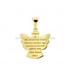 CIONDOLO ANGELO ECO CON PREGHIERA MM 20X19 IN ARGENTO DORATO TIT 925