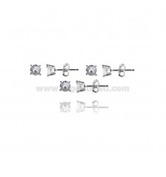 KIT 3 PAIRS EARRINGS LIGHT POINT WITH WHITE ZIRCON 5 MM SILVER RHODIUM 925 ‰