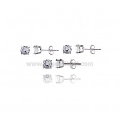 KIT 3 PAIRS EARRINGS LIGHT POINT WITH WHITE ZIRCON 6 MM SILVER RHODIUM 925 ‰