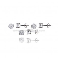 KIT 3 PAIRS OF LIGHT POINT EARRINGS WITH WHITE ZIRCON MM 7 IN 925 ‰ RHODIUM-PLATED SILVER