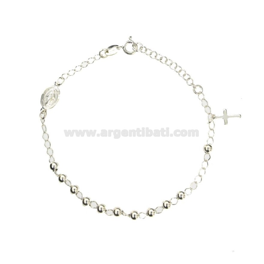 bracciale rosario argento 925 rosario preghiera 18 cm silver 925 bracelet Przedmioty od 1945