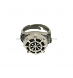 RING ROUND 17 MM WITH HELM IN SILVER BRUNITO TIT 925 ‰ ADJUSTABLE SIZE