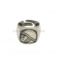 16X16 MM cuadrado del anillo de plata DUCE BRUNITO TIT 925 ‰ de tamaño ajustable