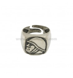 16X16 MM SQUARE RING WITH SILVER DUCE BRUNITO TIT 925 ‰ ADJUSTABLE SIZE