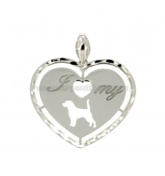 PENDANT HEART MM 26X30 I LOVE MY DOG IN SILVER RHODIUM TIT 925 ‰