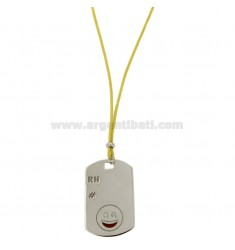 PENDANT TYPE PLATE WITH MILITARY MM 32x20 RH EMOTICON SMILE AND SILVER RHODIUM TIT 925 ‰ POLISH AND LACE SILK CERATA YELLOW
