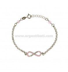 ROLO BRACELET INFINITY IN SILVER RHODIUM TIT 925 ‰ CM 18 WITH ENAMEL ZIRCONIA AND CRYSTALS