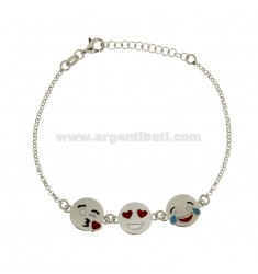 ROLO BRACELET 'WITH 3 EMOTICONS KISS, LOVE AND LAUGH IN SILVER RHODIUM TIT 925 ‰ CM 18