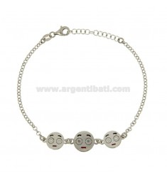 ROLO BRACELET 'WITH 3 EMOTICONS IMBARAZZO IN RHODIUM-PLATED SILVER TIT 925 ‰ CM 18