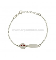 ROLO BRACELET 'WITH PLATE AND LOVE EMOTICONS IN SILVER RHODIUM TIT 925 ‰ CM 18
