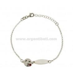 ROLO Armband &39mit Platte und EMOTICONS KISS Silber rhodiniert TIT 925 ‰ CM 18