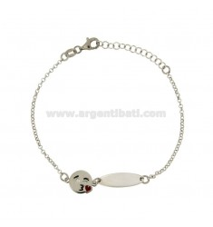 ROLO BRACELET 'WITH PLATE AND EMOTICONS KISS IN SILVER RHODIUM TIT 925 ‰ CM 18