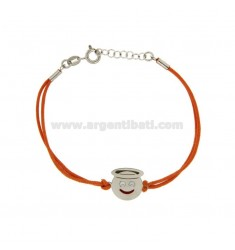 BRACCIALE IN SETA ARANCIONE CON EMOTICONS ANGELO MM 15 IN ARGENTO RODIATO TIT 925‰ E SMALTO CM 16-18