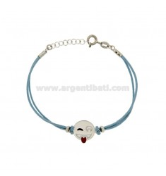 BRACELET WITH BLUE SILK EMOTICONS tongue 15 MM SILVER RHODIUM TIT 925 ‰ AND POLISH CM 16.18