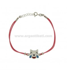 Armband mit rosa Seide EMOTICONS CAT LACHEN 15 MM Silber rhodiniert TIT 925 ‰ und die polnische CM 16.18