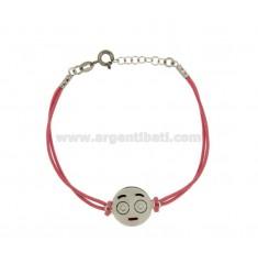 Armband mit rosa Seide EMOTICONS SPOILT 15 MM Silber rhodiniert TIT 925 ‰ und die polnische CM 16.18