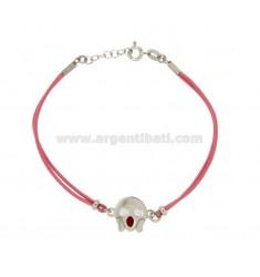 Armband mit rosa Seide EMOTICONS ROARING 15 MM Silber rhodiniert TIT 925 ‰ und die polnische CM 16.18