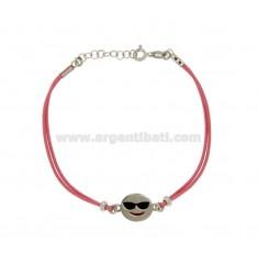 Armband mit rosa Seide EMOTICONS HOLIDAY 15 MM Silber rhodiniert TIT 925 ‰ und die polnische CM 16.18
