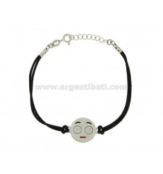 BRACELET WITH BLACK SILK EMOTICONS SPOILT 15 MM SILVER RHODIUM TIT 925 ‰ AND POLISH CM 16.18