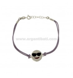 BRACELET WITH PURPLE SILK EMOTICONS HOLIDAY 15 MM SILVER RHODIUM TIT 925 ‰ AND POLISH CM 16.18