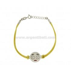 Armband mit gelber Seide EMOTICONS SPOILT 15 MM Silber rhodiniert TIT 925 ‰ und die polnische CM 16.18