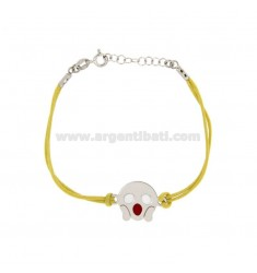 BRACELET WITH YELLOW SILK EMOTICONS ROARING 15 MM SILVER RHODIUM TIT 925 ‰ AND POLISH CM 16.18