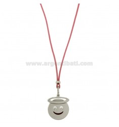 COLLANA IN SETA ROSA CON EMOTICONS ANGELO MM 17 IN ARGENTO RODIATO TIT 925‰ E SMALTO