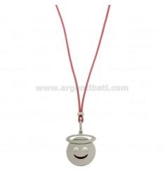 Halskette mit rosa SILK EMOTICONS ANGELO 17 MM Silber rhodiniert TIT 925 ‰ und Glasuren