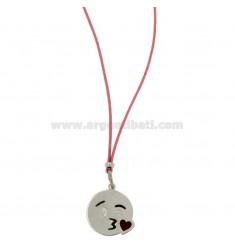 COLLAR con caritas de seda rosa Kiss 17 MM plata del rodio TIT 925 ‰ y glaseado