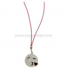 NECKLACE WITH PINK SILK EMOTICONS KISS 17 MM SILVER RHODIUM TIT 925 ‰ AND GLAZE