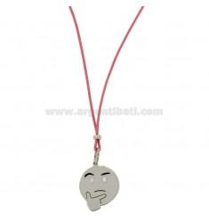 Halskette mit rosa SILK EMOTICONS nachdenklich 17 MM Silber rhodiniert TIT 925 ‰ und Glasuren