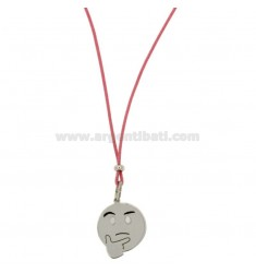 NECKLACE WITH PINK SILK EMOTICONS thoughtfully 17 MM SILVER RHODIUM TIT 925 ‰ AND GLAZE