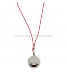 COLLAR con caritas de seda rosa SONRISA 17 MM plata del rodio TIT 925 ‰ y glaseado