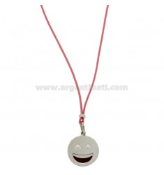 NECKLACE WITH PINK SILK EMOTICONS SMILE 17 MM SILVER RHODIUM TIT 925 ‰ AND GLAZE