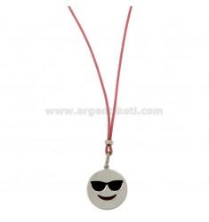 Halskette mit rosa SILK EMOTICONS HOLIDAY 17 MM Silber rhodiniert TIT 925 ‰ und Glasuren