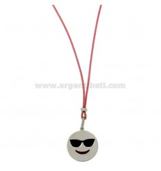 NECKLACE WITH PINK SILK EMOTICONS HOLIDAY 17 MM SILVER RHODIUM TIT 925 ‰ AND GLAZE